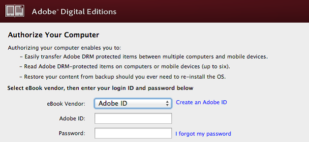 Adobe Digital Editions Window requesting authorization.