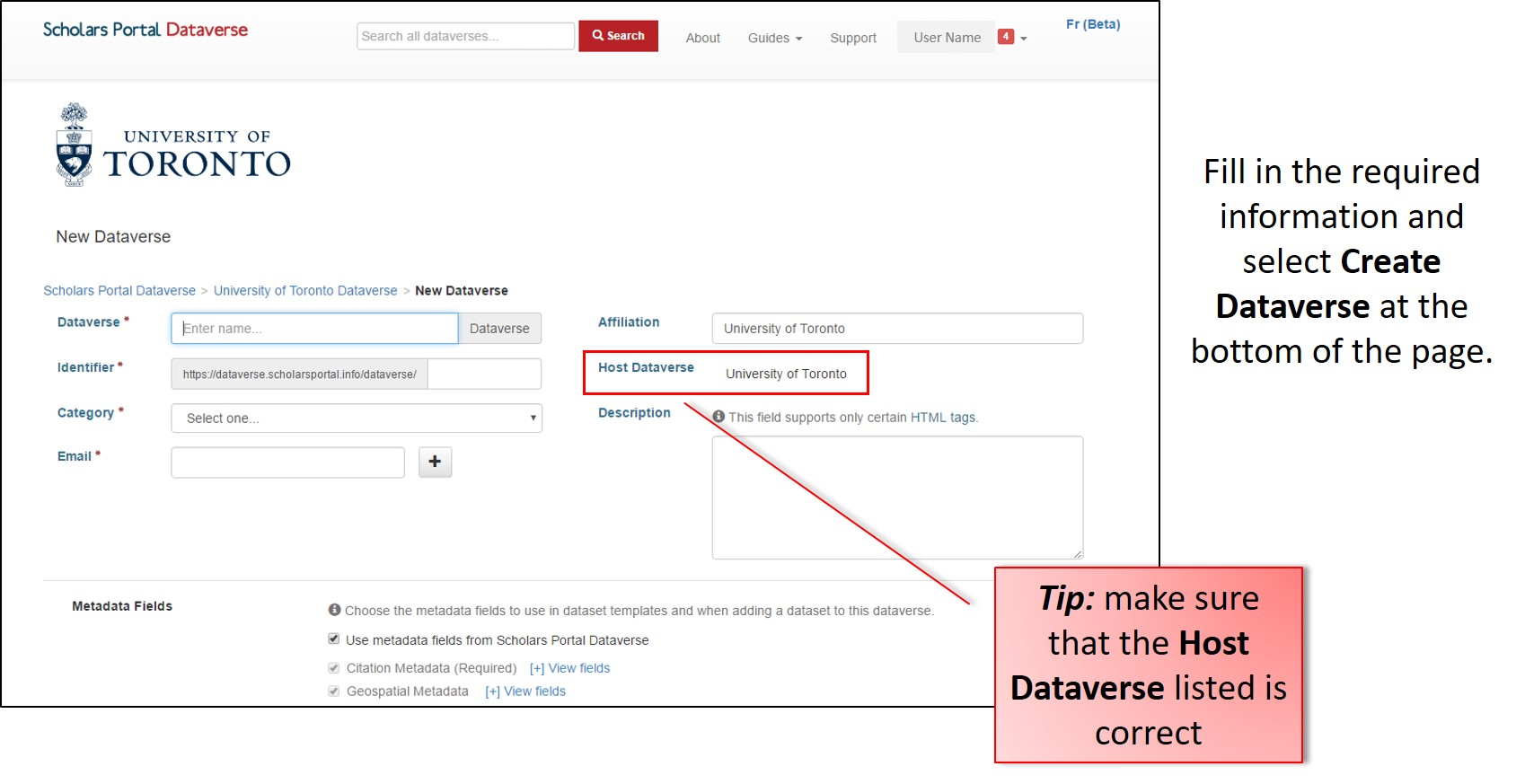 Fill in the required information and select Create Dataverse at the bottom of the page. Tip: make sure that the Host Dataverse listed is correct