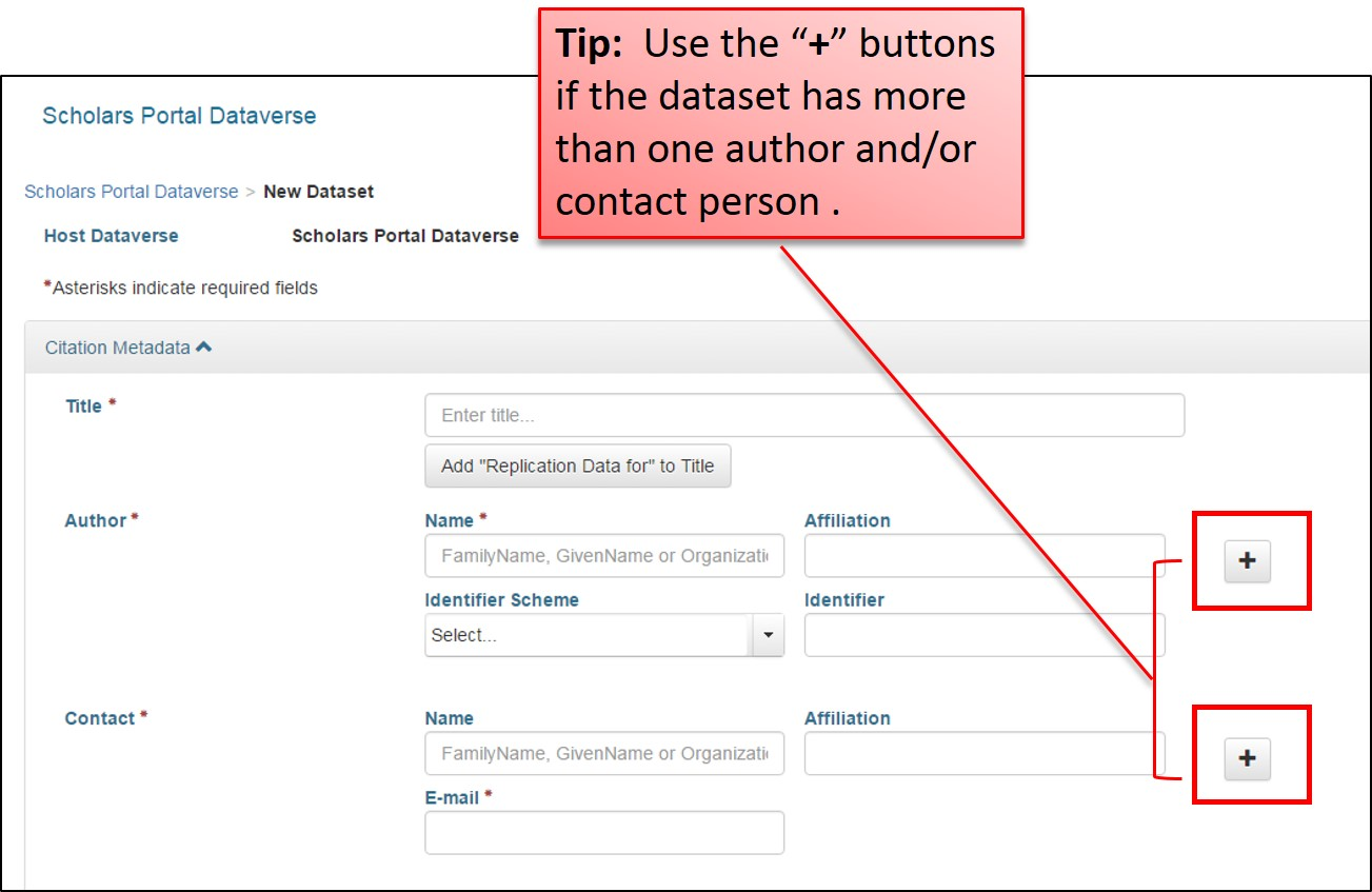 "Tip: Use the ""+"" buttons if the dataset has more than one author and/or contact person"