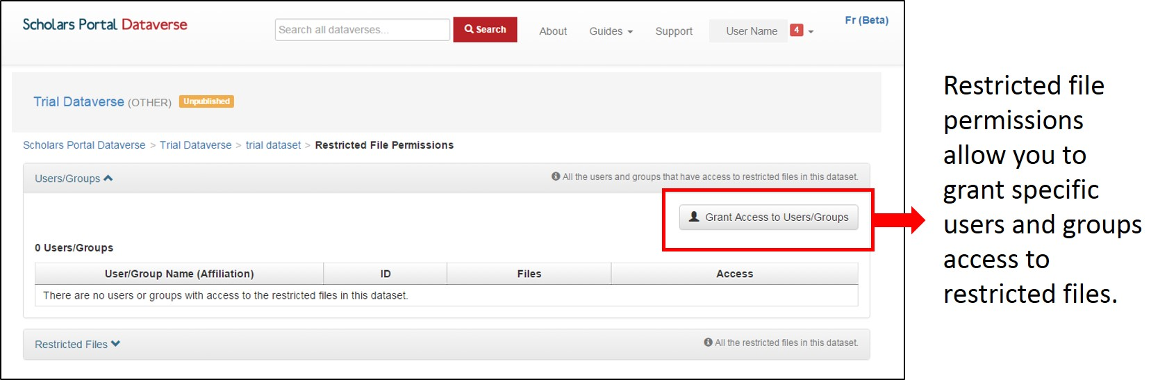 Restricted file permissions allow you to grant specific users and groups access to restricted files.
