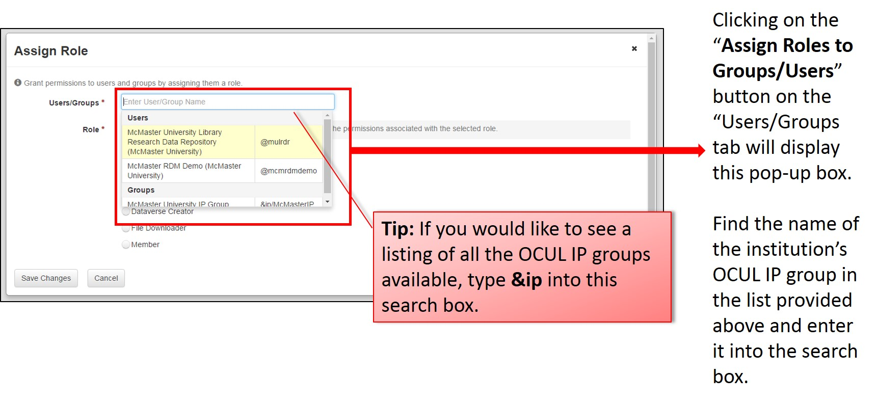 "Clicking on the ""Assign Roles to Groups/Users"" button on the ""Users/Groups tab will display this pop-up box. Find the name of the institution's OCUL IP group in the list provided above and enter it into the search box."