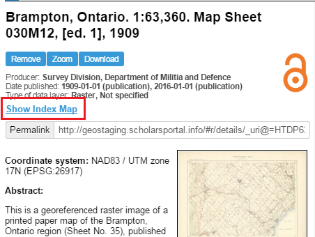 "Screen capture of a metadata record for ""Brampton, Ontario"", with link to ""Show Index Map"" circled."