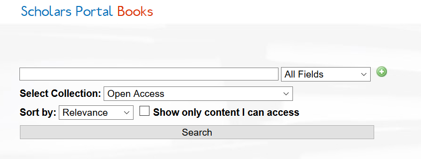 Screenshot of a search on Scholars Portal Books, with the collection set to Open Access.