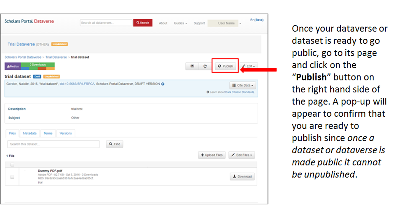 "Once your dataverse or dataset is ready to go public, go to its page and click on the ""Publish"" button on the right hand side of the page. A pop-up will appear to confirm that you are ready to publish since once a dataset or dataverse is made public it cannot be unpublished."