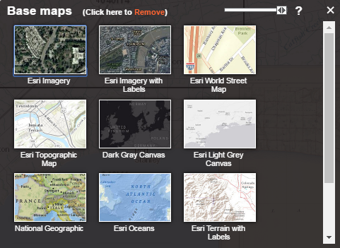 Screen capture of the base map gallery in the GeoPortal.
