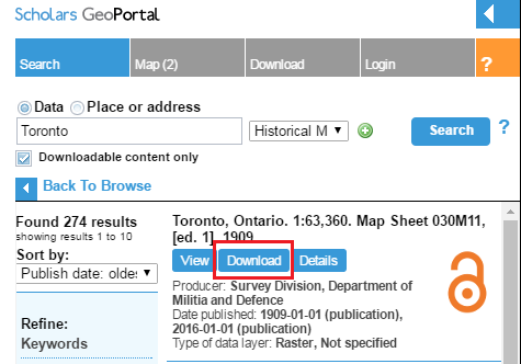 Screen capture of the results of a search for Toronto maps, 'download' button circled.