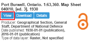 Screen capture of the results of a search for the 'Port Burwell, Ontario' map sheet, 'view' button circled.