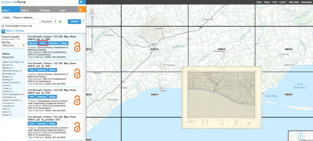 Screen capture of a map that has been loaded on the map viewer in the GeoPortal, after being selected from search results in the left hand panel.