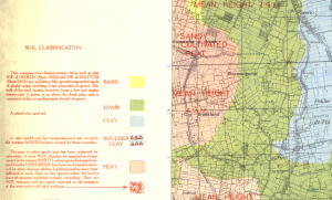 1944 geological overprint (soil types) of Deventer, Holland.