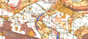 October 1944 going map for tanks showing Issum, Germany.