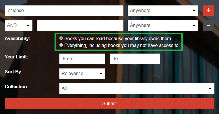 Screenshot showing checkbox to toggle searching for only books available in full text