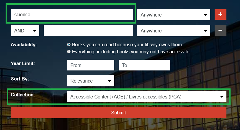 Screenshot highlighting the ACE Portal search feature