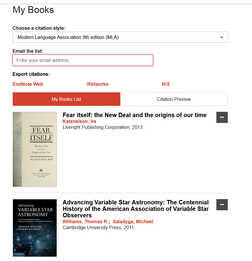 Screenshot showing the My Books page