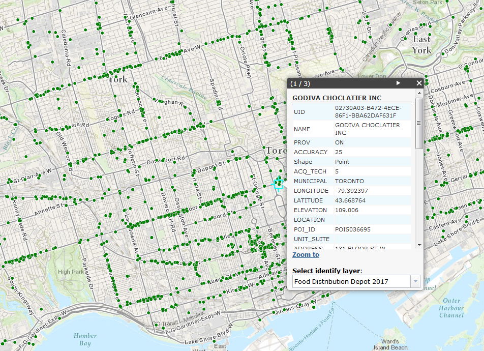 Screenshot of the Food Distribution Point layer in the Scholars GeoPortal, with the details for a Godiva Chocolatier location in downtown Toronto highlighted.