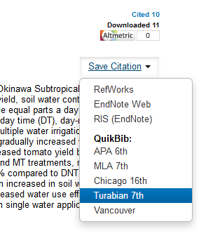 The Save Citation dropdown menu lists different citation styles you can copy and paste, or the option to expor tthe citation to RefWorks or EndNote.