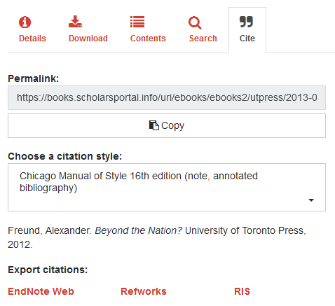 The cite tab allows you to export citations.