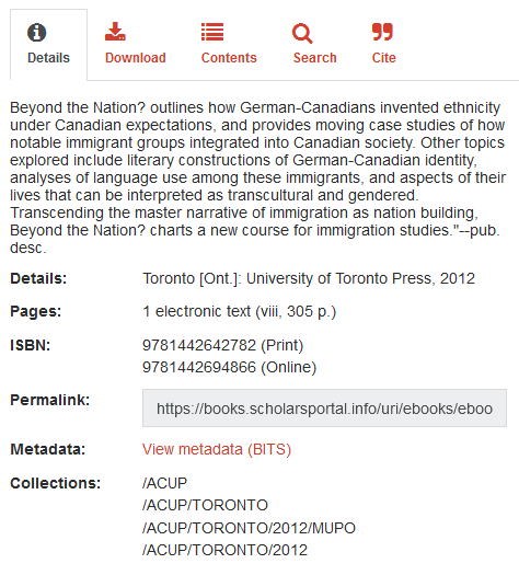The details tab includes information for librarians, as well as the abstract.