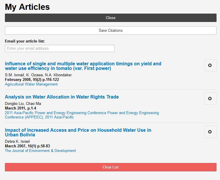 The My Articles page includes options to download, email, or clear your list of articles.