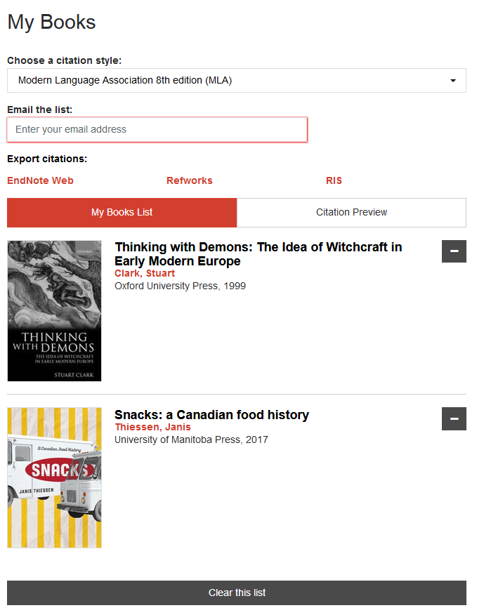 The My Books page lets you email yourself your list of books or export all the citations.