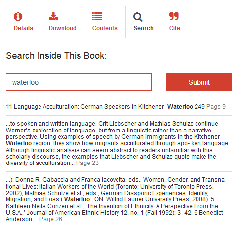 The search tab includes the search within book function.
