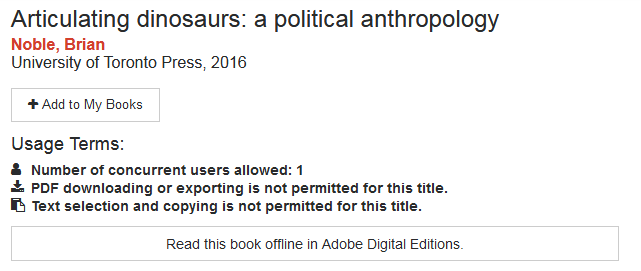 Single user message including the Read this Book with Adobe Digital Editions button