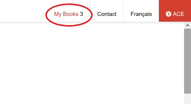The My Books list can be accessed in the top right toolbar.