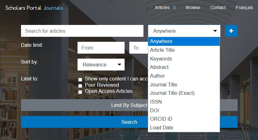 The drop down menu beside the search bar allows users to select how to search, including by article title, keywords, author, and more.