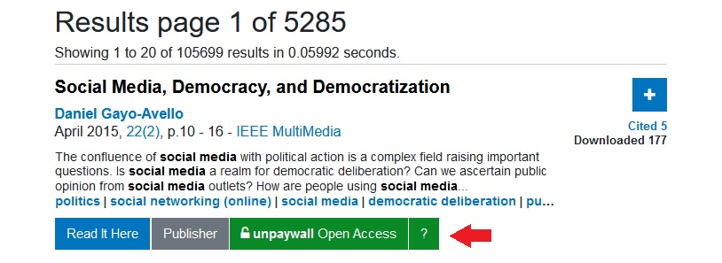 """Click the button that says """"Unpaywall: Open Access"""" to access an article through the Unpaywall open access database."""