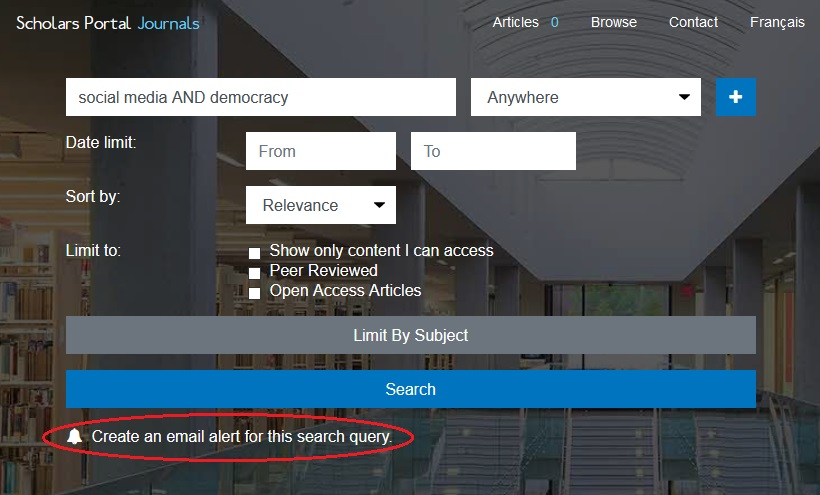 """The """"Create an email alert for this search query"""" button below the search bar will create an email alert for a search query."""